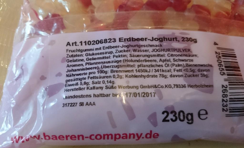 Erdbeer Joghurt - Fruchtgummi Inhaltsangaben