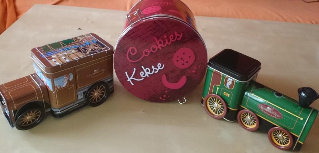 Spezi Haus Lokomotive Auto und Cookies Dose