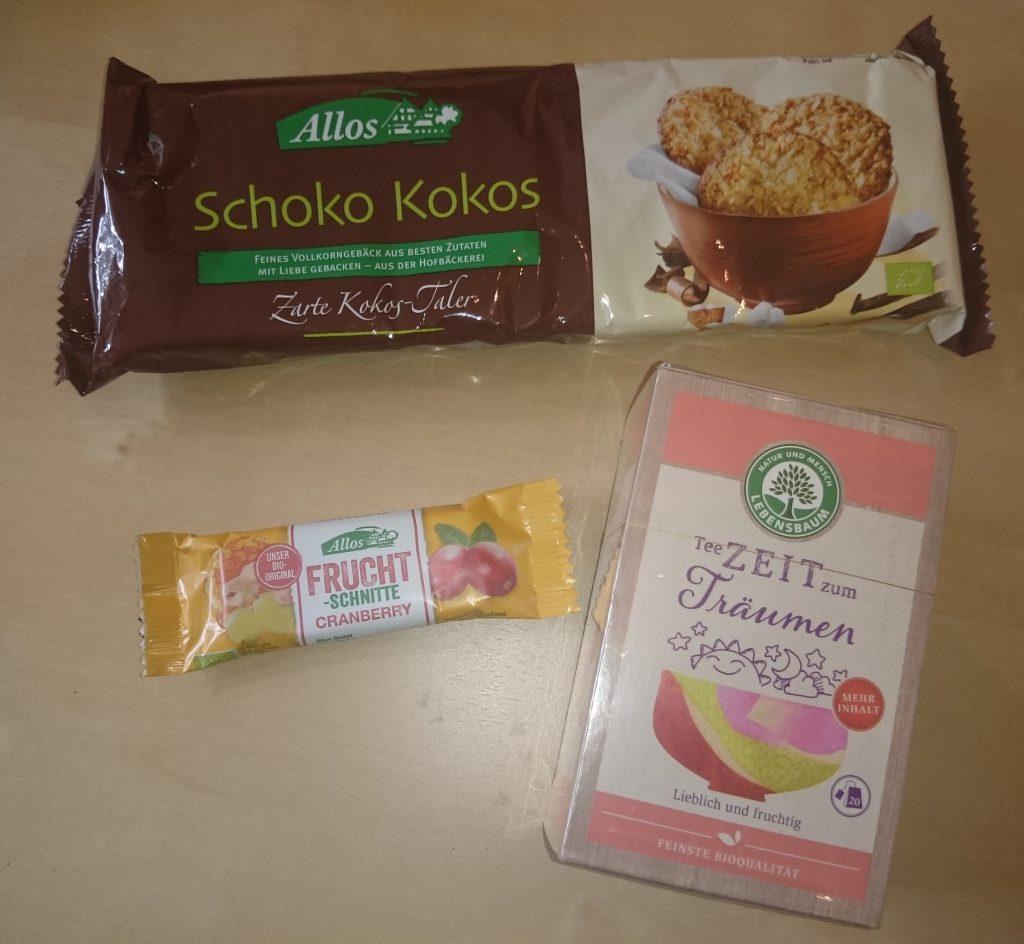 Bring mir Bio, Allos Schoko Kokos Kekse, Allos Fruchtschnitte, Lebensbaum Tee