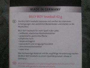 BillyBoy Loveball Text