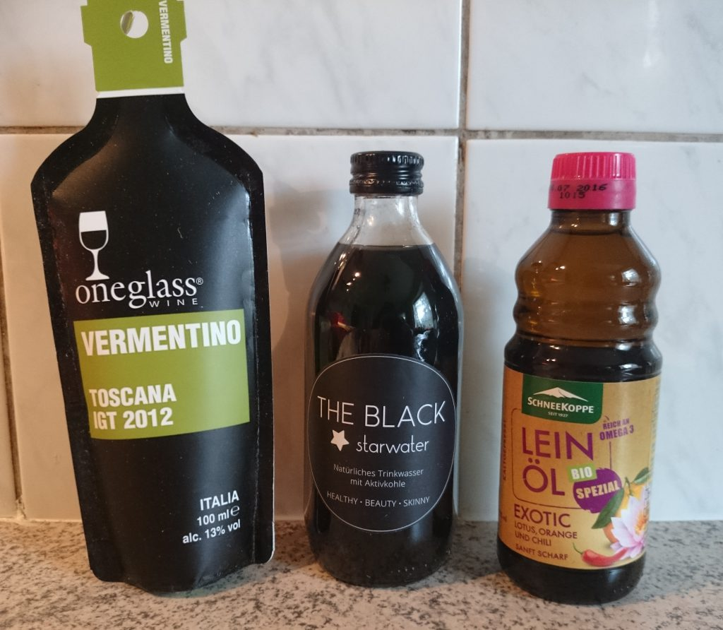 Brandnooz Genussbox Mai 2016 Schneekoppe Öl, Black Water, Oneglass