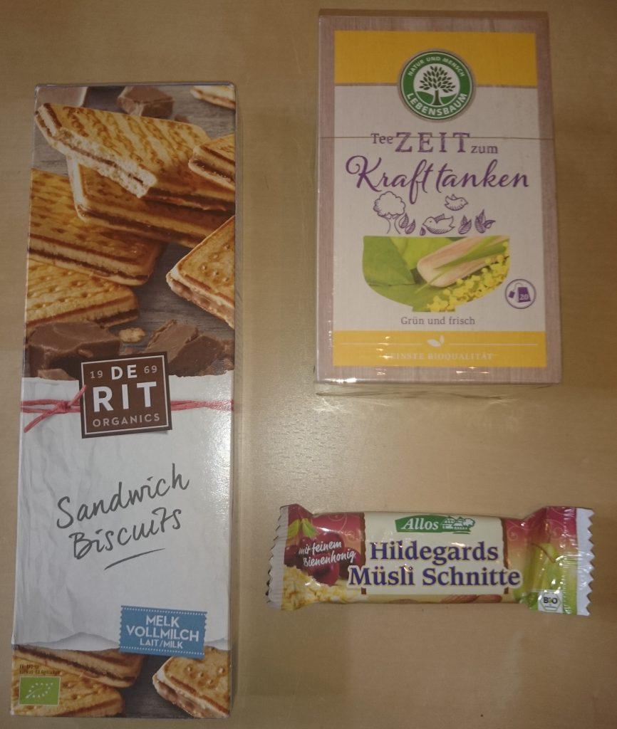 Bring mir Bio, De Rit Sandwich Biscuits, Allos Müsli Schnitte, Lebensbaum Tee
